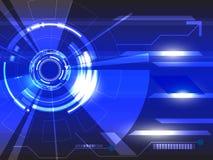 传染媒介在蓝色背景的圈子技术 免版税库存图片