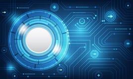 传染媒介在蓝色背景的技术圈子 免版税库存图片