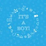 传染媒介在蓝色背景的婴儿送礼会设计 免版税库存照片