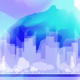 传染媒介在水彩背景的城市剪影 免版税库存照片