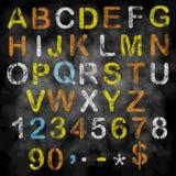 传染媒介在黑板的白垩字母表 免版税图库摄影