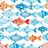 传染媒介在轻的背景的水彩鱼 水彩样式s 免版税库存图片