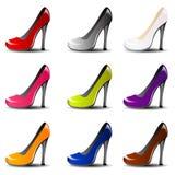 传染媒介在9颜色的高跟鞋鞋子 免版税库存图片