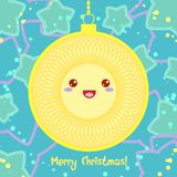 传染媒介在Kawaii样式的圣诞卡 免版税库存图片