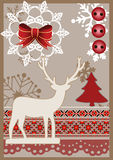 传染媒介在scrapbooking的样式的圣诞卡 免版税库存图片