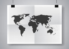 黑传染媒介地图 两次与钳位的一张被折叠的海报 库存照片