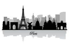 传染媒介巴黎地平线剪影 库存图片