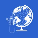 传染媒介地球和学校用品 免版税图库摄影