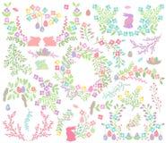 传染媒介复活节月桂树、花圈和花卉装饰 图库摄影
