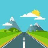 传染媒介夏天或春天风景背景 在绿色vall的路 免版税库存照片