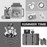 传染媒介夏日元素集 免版税库存图片