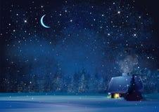 传染媒介夜冬天风景 免版税库存图片