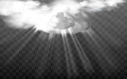 传染媒介太阳光芒通过白色蓬松云彩 向量例证