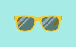 传染媒介太阳镜 在蓝色背景的黄色太阳镜 免版税库存图片