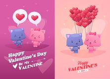 传染媒介夫妇逗人喜爱的猫的动画片例证 免版税图库摄影