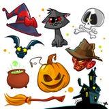 传染媒介套万圣夜南瓜和属性象 巫婆猫、南瓜头、头骨、巫婆帽子、毒物罐和被困扰的房子 库存例证