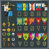 传染媒介套不同的旗子形状 标志元素汇集 纹章元素 对比赛氏族 库存照片