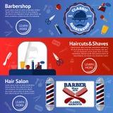 传染媒介套与修饰辅助部件的理发师横幅-梳子,剃刀,剪,上油,杆等 免版税库存图片