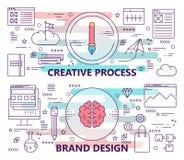 传染媒介套与创造性的过程和品牌设计概念模板的横幅 现代稀薄的线平的设计元素 库存例证