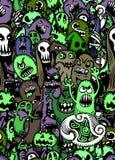 传染媒介套与另外emo的可怕,滑稽的五颜六色的字符 免版税库存照片
