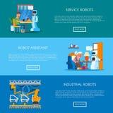 传染媒介套与家,服务,工业自动化概念的横幅 库存例证