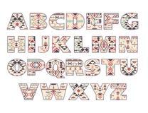 传染媒介套与抽象种族样式的华丽大写字母 图库摄影