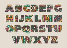 传染媒介套与抽象种族样式的华丽大写字母 免版税库存照片