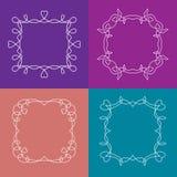传染媒介套与花卉元素的概述框架 免版税图库摄影