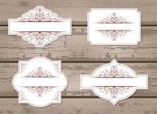传染媒介套与装饰元素的标签 免版税库存照片