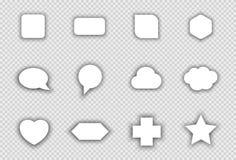 传染媒介套与透明阴影的白色形状 库存照片