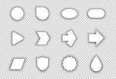 传染媒介套与透明阴影A的白色形状 免版税库存照片