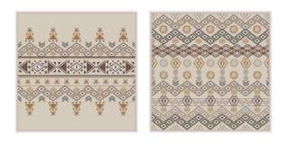 传染媒介套两个无缝的样式 种族部族几何纹理 免版税库存照片