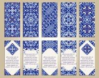 传染媒介套事务和邀请的五颜六色的垂直的横幅 葡萄牙语, Azulejo,摩洛哥;阿拉伯;亚洲装饰品 库存图片