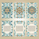 传染媒介套事务和邀请的五颜六色的小册子模板 葡萄牙语,摩洛哥;Azulejo;阿拉伯;亚洲装饰品 免版税库存图片