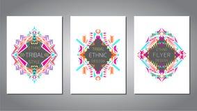 传染媒介套事务和邀请的几何五颜六色的小册子模板 种族,部族,阿兹台克样式 A4布局格式 库存图片