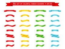 传染媒介套五颜六色的丝带横幅 皇族释放例证