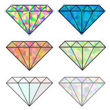传染媒介套五颜六色的发光的珠宝 图库摄影