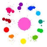 传染媒介套五颜六色的彩虹墨水在白色背景飞溅 免版税库存照片