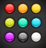 套五颜六色的按钮 免版税库存照片