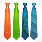 传染媒介套五颜六色的领带 图库摄影