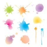 传染媒介套五颜六色的水彩污点 免版税库存图片