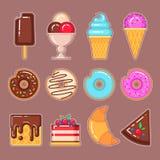 传染媒介套冰淇凌,油炸圈饼、奶蛋烘饼、蛋糕和新月形面包 免版税库存图片