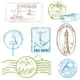 传染媒介套减速火箭的海邮票 免版税库存照片