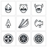 传染媒介套北欧海盗武器象 头、人、盔甲、轴、矛、弓箭,盾 向量例证
