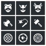 传染媒介套北欧海盗武器象 头,人,盔甲,轴,钉头锤,锤子,盾 向量例证