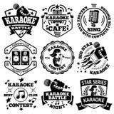 传染媒介套卡拉OK演唱标签,徽章 免版税图库摄影