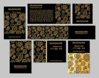 传染媒介套名片与东方样式的flayers横幅 免版税库存图片