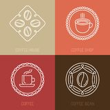 传染媒介套咖啡商标和象 图库摄影