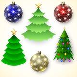 传染媒介套圣诞树和球 免版税库存图片