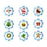 传染媒介套在动画片样式的圣诞节象 免版税库存照片